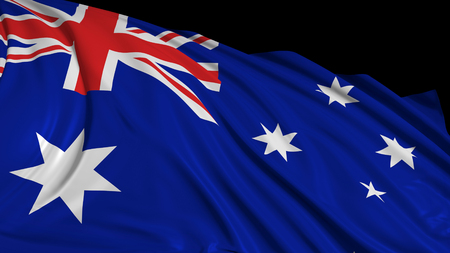 3d rendering of a australian flag. The flag develops smoothly in the wind. Wind waves spread over the flag