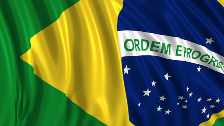 3d rendering of a brazilian flag. The flag develops smoothly in the wind. Wind waves spread over the flag