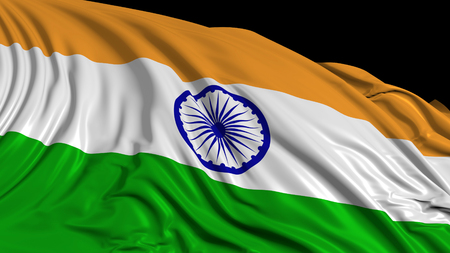 3d rendering of an Indian flag. The flag develops smoothly in the wind. Wind waves spread over the flag