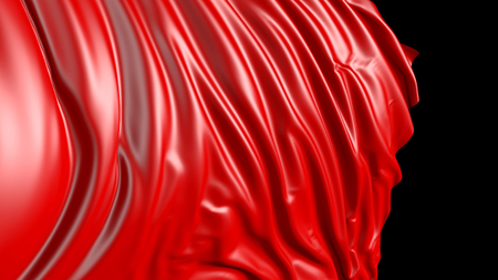 3D rendering of red fabric. The fabric develops smoothly in the wind. Wind waves spread through the fabric Stock Photo