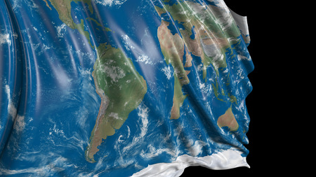 3d rendering of a flag with the texture of the planet Earth. The flag develops smoothly in the wind. Wind waves spread over the flag