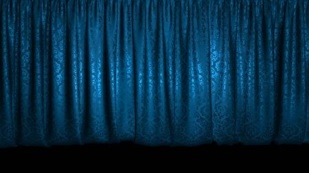 3D rendering of a beautiful stage curtain for a theater or opera stage. Highly detailed fabric. Layout for your design project
