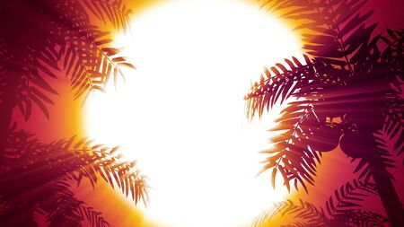 Retro futuristic background with palm trees on a background of the sun. 80s style computer graphics. The background is perfect for any thematic presentation or your own graphic project Stock Photo