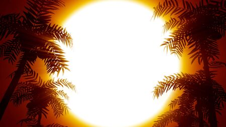 Retro futuristic background with palm trees on a background of the sun. 80s style computer graphics. The background is perfect for any thematic presentation or your own graphic project
