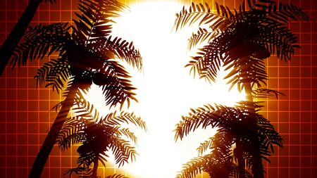 Retro futuristic background with palm trees on a background of the sun. 80s style computer graphics. The background is perfect for any thematic presentation or your own graphic project Banco de Imagens