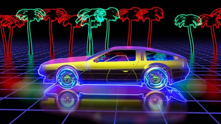 Bright retro futuristic world of computer space in the style of science fiction of the 80s. Futuristic car in virtual space. The background is perfect for any thematic presentation or your own graphic project Banco de Imagens