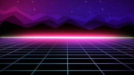 Retro futuristic bright background with a grid. 80s graphic design, retro fantasy. The background is perfect for any thematic presentation or your own graphic project