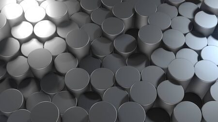 3D rendering of abstract cylindrical geometric metallic surfaces in virtual space. Randomly placed geometric shapes. Bright and beautiful background made of cylinders Stock Photo