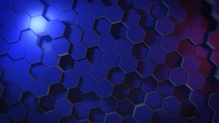 3D rendering of abstract hexagonal geometric surfaces in virtual space. Randomly placed geometric shapes. Polyhedral wall of hexagons