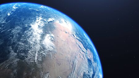 3D rendering of a view of the planet Earth from space. On the surface of the planet are visible clouds, continents, oceans. 版權商用圖片