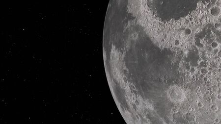 3D rendering of the lunar orbit. The Moon against the background of space with illuminated craters and lunar soil.