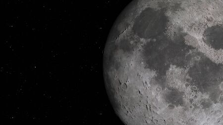 3D rendering of the lunar orbit. The Moon against the background of space with illuminated craters and lunar soil