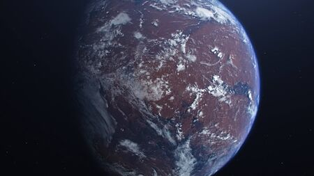 3D rendering of the process of terraforming Mars. The phased appearance of the atmosphere and clouds as a result of humanity colonization of the red planet. Фото со стока