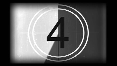3D rendering of a monochrome universal countdown film leader. Countdown clock from 10 to 0. Effect of old film rolling with details, scratches, lines, dirt, markers and film grain