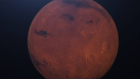 3D rendering of the Martian Orbit. Mars in space with illuminated craters and Martian mountains.