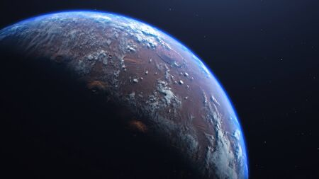 3D rendering of the process of terraforming Mars. The phased appearance of the atmosphere and clouds as a result of humanity colonization of the red planet. Banco de Imagens