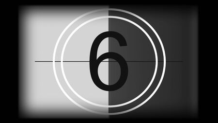 3D rendering of a monochrome universal countdown film leader. Countdown clock from 10 to 0. Design element of old cinema