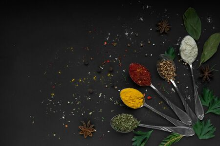 Set of various spices and herbs on black slate background.