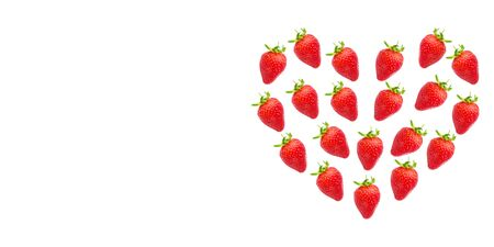 ripe fresh strawberries in the shape of a heart