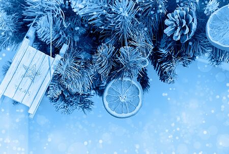 Christmas and new year in classic blue Foto de archivo - 138455896