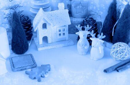 ECO decoration. Christmas zero waste and Happy new year in classic blue. trend color Foto de archivo - 138455897