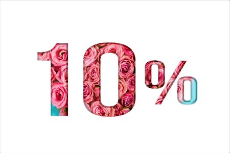 Valentine's day sales. 10% discount on promotion on white poster,banner. advertising with Numbers on paper, cut out of delicate roses. for your holiday posters/banners offers percentage discounts Foto de archivo - 136430264