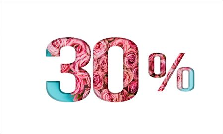 Valentine's day sales. 30% discount on promotion on white poster,banner. advertising with Numbers on paper, cut out of delicate roses. for your holiday posters/banners offers percentage discounts Foto de archivo - 136430358