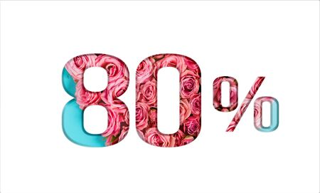 Valentine's day sales. 80% discount on promotion on white poster,banner. advertising with Numbers on paper, cut out of delicate roses. for your holiday posters/banners offers percentage discounts Foto de archivo - 136430338