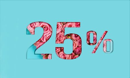 Valentine's day sales. 25% discount on promotion on blue poster,banner. advertising with Numbers on paper, cut out of delicate roses. for your holiday posters/banners offers percentage discounts Foto de archivo - 136431923