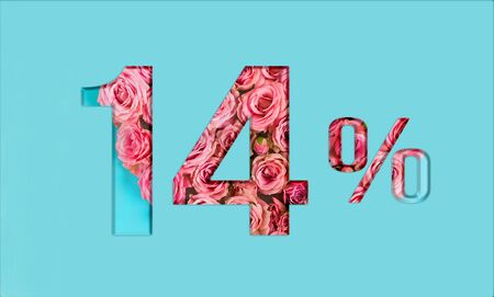 Valentine's day sales. 14% discount on promotion on blue poster,banner. advertising with Numbers on paper, cut out of delicate roses. for your holiday posters/banners offers percentage discounts Foto de archivo - 136431943