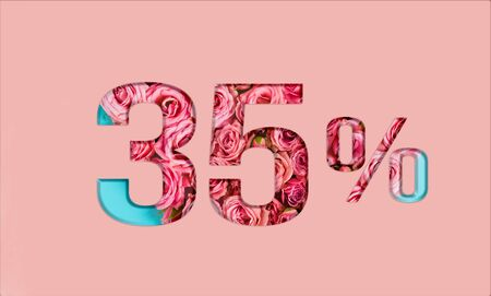 Valentine's day sales. 35percent discount on promotion on pink poster,banner. advertising with Numbers on paper, cut out of delicate roses. for your holiday posters,banners offers percentage discounts Foto de archivo - 136871138