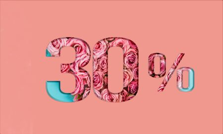 Valentine's day sales.30 percent discount on promotion on pink poster,banner. advertising with Numbers on paper, cut out of delicate roses. for your holiday posters,banners offers percentage discounts Foto de archivo - 136871610