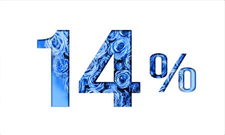 Valentine's day sales.14 percent discount on promotion,banner.advertising with Numbers on paper, cut out of roses in classic blue color.for your holiday posters,banners offers percentage discounts Foto de archivo - 137974946