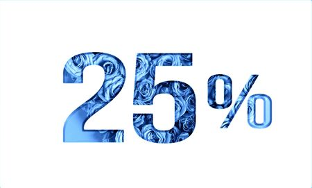 Valentine's day sales.25 percent discount on promotion,banner.advertising with Numbers on paper, cut out of roses in classic blue color.for your holiday posters,banners offers percentage discounts Foto de archivo - 137974867