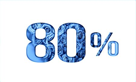 Valentines day sales.80 percent discount on promotion,banner.advertising with Numbers on paper, cut out of roses in classic blue color.for your holiday posters,banners offers percentage discounts