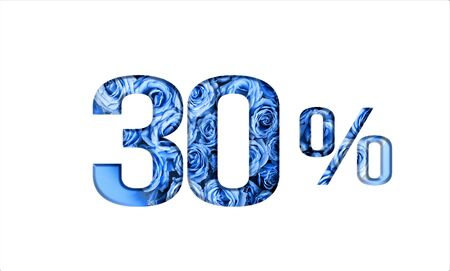 Valentines day sales.30 percent discount on promotion,banner.advertising with Numbers on paper, cut out of roses in classic blue color.for your holiday posters,banners offers percentage discounts Banco de Imagens
