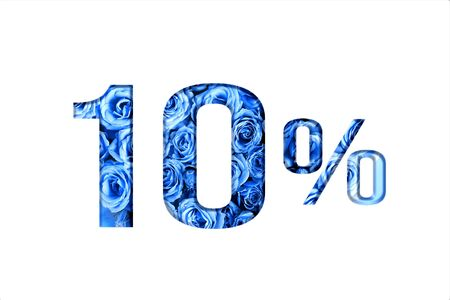 Valentine's day sales.10 percent discount on promotion,banner.advertising with Numbers on paper, cut out of roses in classic blue color.for your holiday posters,banners offers percentage discounts Foto de archivo - 137974824