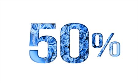 Valentine's day sales.50 percent discount on promotion,banner.advertising with Numbers on paper, cut out of roses in classic blue color.for your holiday posters,banners offers percentage discounts Foto de archivo - 137995846
