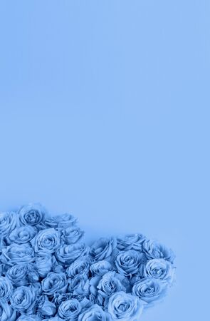 Valentine's day heart made of delicate roses in a classic blue color on a blue background.Holiday card, banner for sale in the store.Spring wreath of flowers-a gift to your loved ones.March 8.vertical Foto de archivo - 138473151