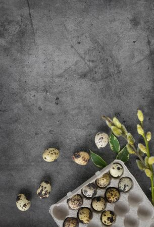 Happy Easter quail eggs in a box on a dark stone background with green leaves and willow branches.Banner, Billboard or greeting card.Easter sale in the store.minimalism.Zero Waste.copyspace Banque d'images