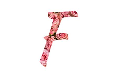 The letter F of the English alphabet is cut out of pink roses on a white isolated background.Floral pattern, texture.Bright alphabet for stores, sales, websites, postcards and holiday greetings. Banco de Imagens
