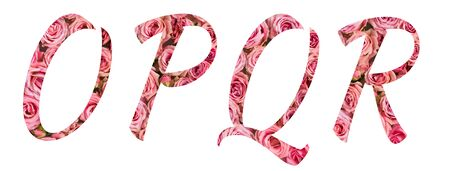 The letters O P Q R of the English alphabet is cut out of pink roses on a white isolated background.Floral pattern, texture.Bright alphabet for stores,sales, websites, postcards and holiday greetings.