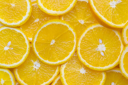 Bright yellow orange slices on a plate.Close-up. Background.Textures