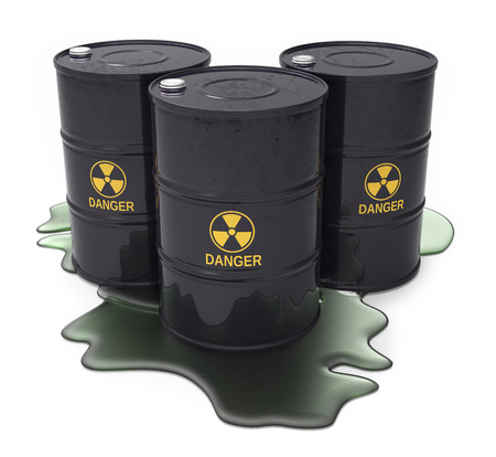 barrels with nuclear waste: Chemical waste in black barrels isolated white background