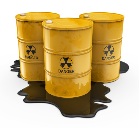 radioactive warning symbol: Chemical waste in yellow barrels isolated white background Stock Photo