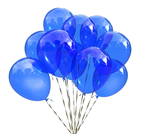 Blaue Ballone für die Feier lokalisiert auf weißem Hintergrund