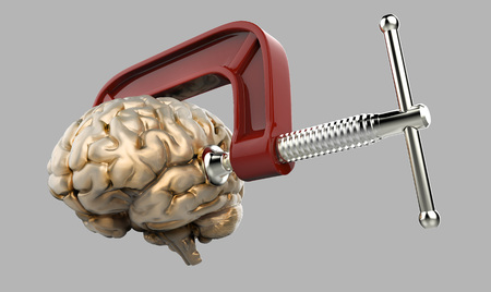 Headache brain in a clamp isolated grey background