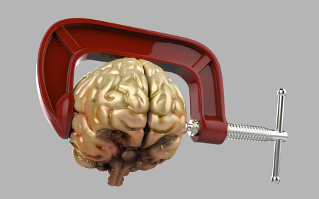vice grip: Headache brain in a clamp isolated grey background