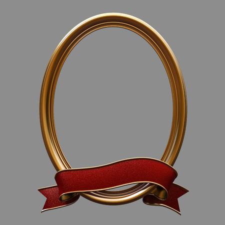 elipse: Vi�eta de oro elipse marco y la cinta roja Foto de archivo