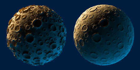 meteor crater: Moon planet asteroid isolated on blue background